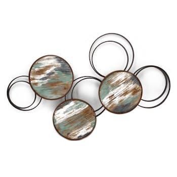 Décoration murale Cercles vides en métal cercles pleins en bois multicolore 65x102cm