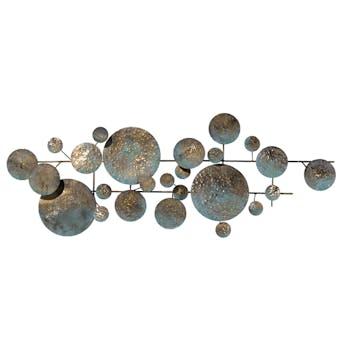 Décoration murale Disques métal sur lignes métal tons marrons, verts et dorés 123x44cm