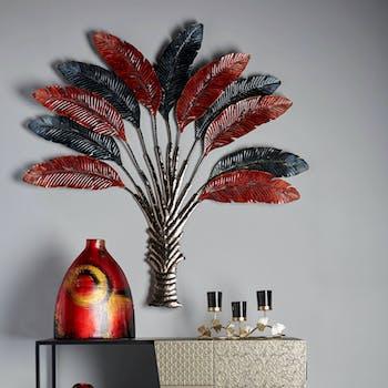 Décoration murale en métal arbre rouge et noir