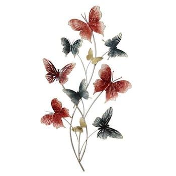Décoration murale en métal bouquet de papillons