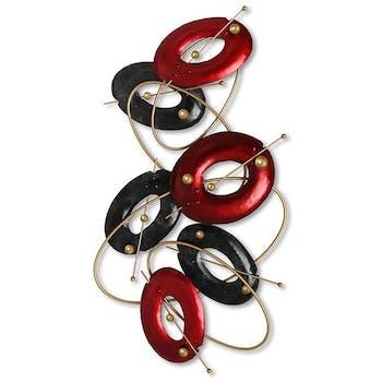 Décoration murale en métal cercles en suspension rouge, noir, or