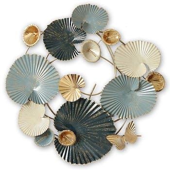 Décoration murale en métal corolle fleurs bleu et or