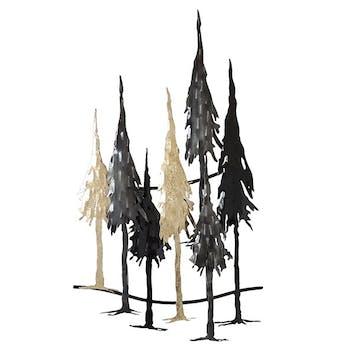 Décoration murale en métal foret noir, or, argent 37,5 cm