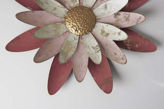 Décoration murale en métal marguerite corail et rose