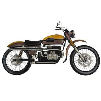 Décoration murale en métal moto jaune