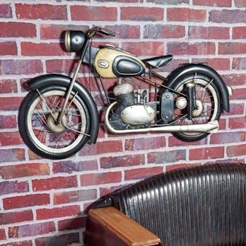 Décoration murale en métal moto noir et blanc