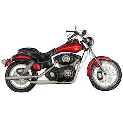 Décoration murale en métal moto rouge et noir