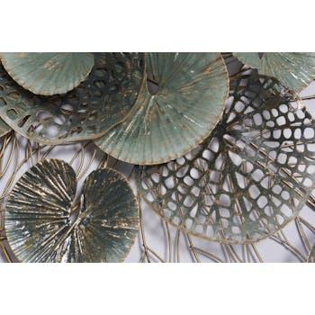Décoration murale en métal nénuphars