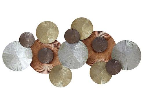 Décoration murale en métal or, argent et bruns