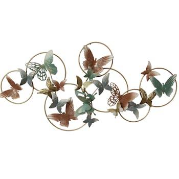 Décoration murale en métal papillons anneaux