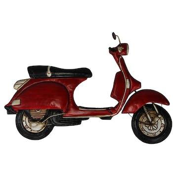 Décoration murale en métal scooter vintage rouge