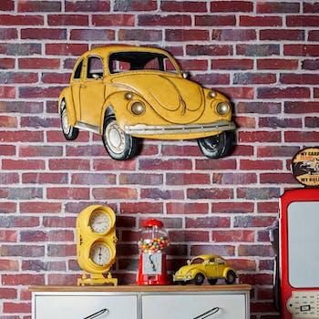 Décoration murale en métal voiture coccinelle jaune