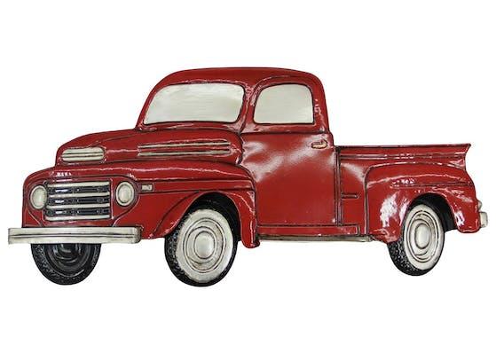 Décoration murale en métal voiture pickup vintage rouge