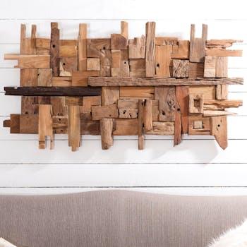 """Décoration murale en Teck """"bois flotté"""" modèle n°11 150x80x7cm POLO"""