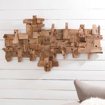 """Décoration murale en Teck """"bois flotté"""" modèle n°19 150x80x9cm POLO"""