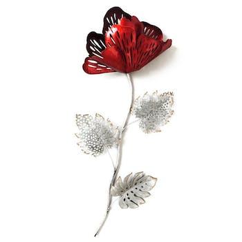 Décoration murale Fleur métal rouge gris découpé