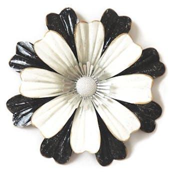 Décoration murale Fleur Pétales métal noir blanc