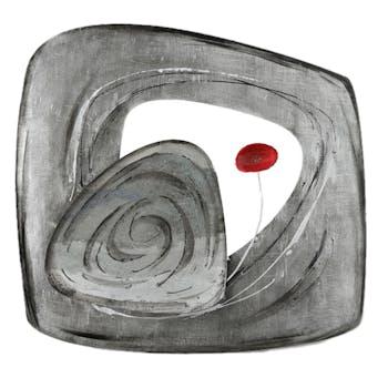Décoration murale Fleur rouge sur cadre stylisé en métal gris 61x57cm