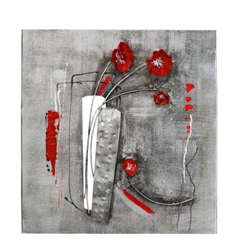 Décoration murale FLEURS Pavots rouges en 3D sur métal tons gris et blancs avec éléments métal 58x60cm