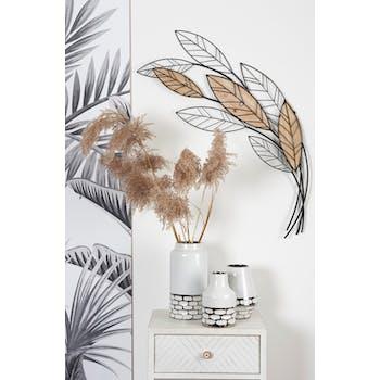 Décoration murale métal bois bouquet de feuillage