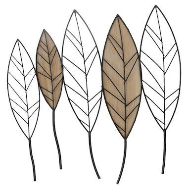Décoration murale métal bois feuilles alignées