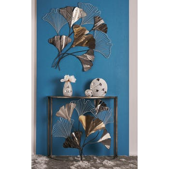 Décoration murale métal feuilles de ginkgo blanc brun