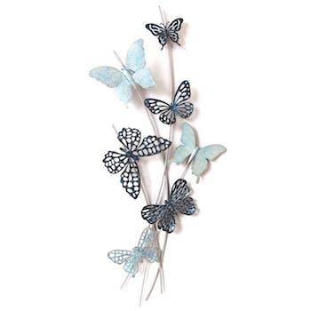 Décoration murale Papillons sur fils métal en camaieu de bleus