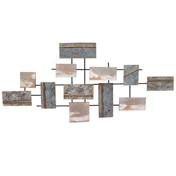 Décoration murale Rectangles métal coloré avec ajouts bois