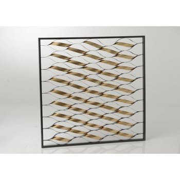 Décoration murale Spirales dorées dans cadre noir métal 90x90cm