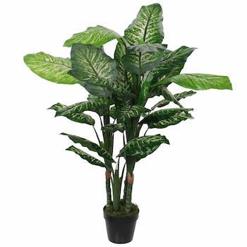 Dieffenbachia artificiel en pot H 120 cm
