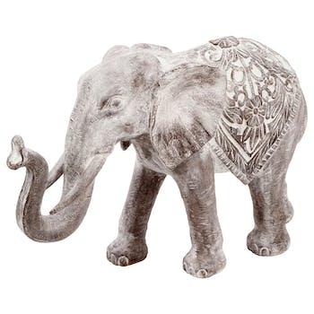Eléphant avec la trompe levée en résine finition blanchie 11cm