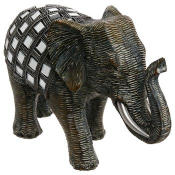 Eléphant en résine noire avec mosaïque de miroirs sur le dos 19X13cm