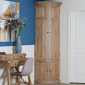 Armoire encoignure en bois massif de style classique