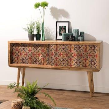 Buffet console en bois de manguier portes coulissantes de style exotique