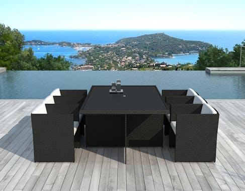 Ensemble de Repas ARGELES 7 pièces encastrables 175x115cm en résine tressée noire et coussins tissu blanc écru