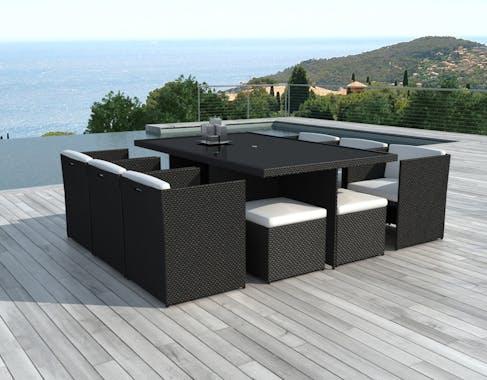 Salon de jardin 10 personnes résine tressée table 175 cm fauteuils avec coussin CARACOL