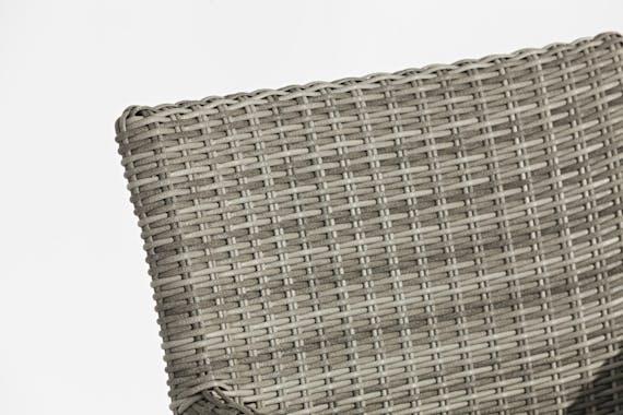 Ensemble de Repas ORLANDO 7 pièces 180cm en aluminium et résine tressé grise et coussins tissu gris