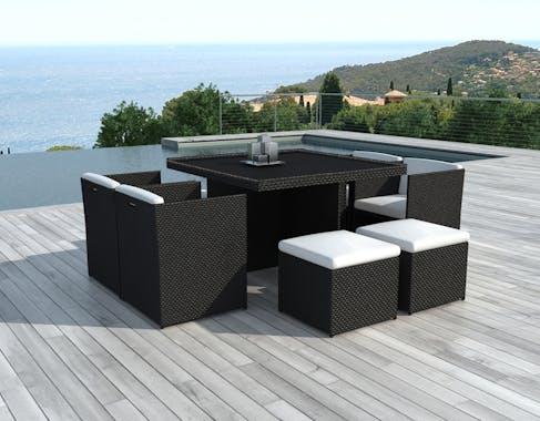 Ensemble repas de jardin encastrable en résine tressée noire table + fauteuils + poufs 8 personnes PUERTO RICO