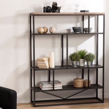 Bibliotheque etagere en bois et metal noir de style contemporain