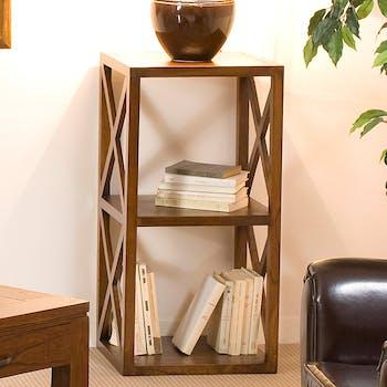 Bibliotheque etagere en bois fonce avec croisillons de style exotique
