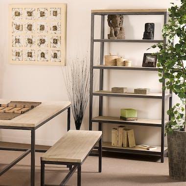 Bibliotheque etagere en bois et metal de style contemporain