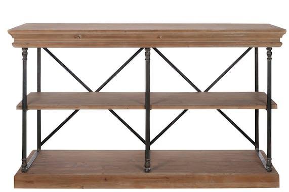Etagère basse 3 niveaux bois et métal noir - 153x53x88cm