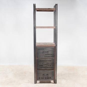 Bibliotheque etagere bois recycle et metal avec tiroirs style indutriel