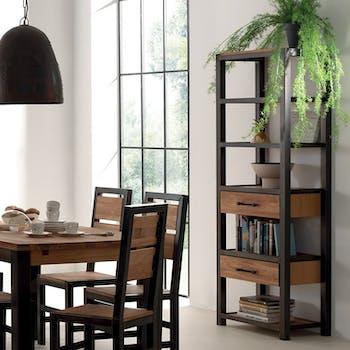 Bibliotheque etagere en bois et metal avec tiroirs style indutriel
