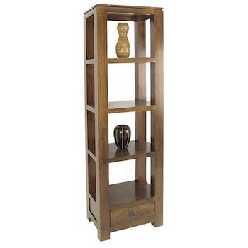 Etagère colonne 1 tiroir bois hévéa massif H190cm HELENA