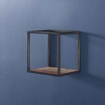 Etagère cube bois d'acacia métal 30 cm MELBOURNE