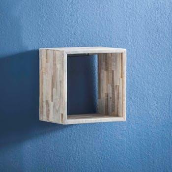 Etagère cube bois de teck recyclé finition vieillie 30 cm JAVA