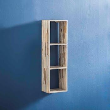 Etagère cube verticale bois de teck recyclé finition vieillie 100 cm JAVA