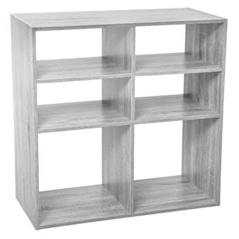 Etagère en bois grisé 6 casiers 67 cm
