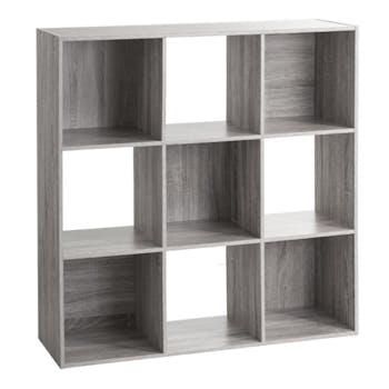 Etagère en bois grisé 9 casiers 100 cm